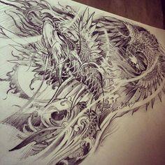 Chronic Ink Tattoo - Toronto Tattoo Phoenix and dragon koi sketch by Master Ma.