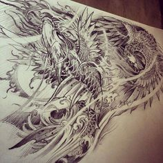 Chronic Ink Tattoo - Toronto Tattoo Phoenix and dragon koi sketch by Master Ma.