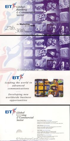 BT Global Banking BT Phonecard  - set of  four telephone cards were released in 1995 in this special folder. The front, inside (containing BT Phonecard) and the reverse of folder are shown. All four names that appear on the reverse of each of the four BT Phonecards, appear on the reverse of the cardboard folder. Photo Scan, Marketing Information, The Marketing, Business Opportunities, Telephone, Opportunity, Commercial, Names, World