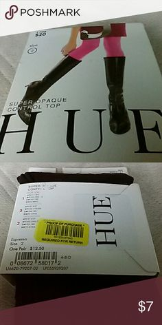 """Super Opaque Tights Hue Super Opaque control top Brown tights. Size 2. Height 5'3"""" - 6'0"""". Weight 120 -170 lbs. CM 158-180. Brand new in the pack. Bought at Dillards. HUE Accessories Hosiery & Socks"""