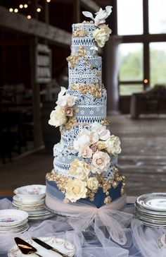 Lace Wedding Cakes Rustic and Romantic Barn Wedding Inspiration – Boswick Photography - blue vintage lace tall tiered wedding cake - Rustic, warm, antique-filled Country Wedding Cakes, Floral Wedding Cakes, Wedding Cake Rustic, Amazing Wedding Cakes, Unique Wedding Cakes, Wedding Cake Designs, Wedding Cake Toppers, Wedding Cakes With Cupcakes, Wedding Cake Vintage