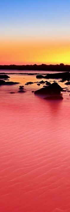Sunset on Lake Retba - the pink lake of Senegal, Africa