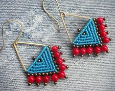 macrame earrings, handcrafted beaded earrings