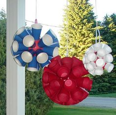 Party pom poms from Solo cups.  So clever!