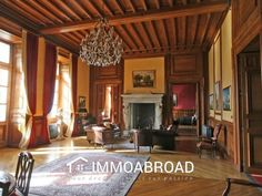 : French chateau for sale in Allier.This magnificent chateau is situated. Villa, Prairie Style Architecture, Oak Parquet Flooring, Staff Room, Craftsman Furniture, Ice Houses, French Property, Attic Spaces, French Chateau