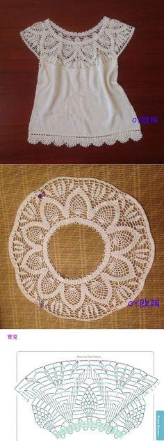 Crochet Top Белый топ с круглой кокеткой крючком. Топ крючком с ананасовой кокеткой Col Crochet, Crochet Collar, Crochet Jacket, Crochet Woman, Crochet Blouse, Lace Knitting, Crochet Stitches, Knitting Patterns, Sewing Patterns