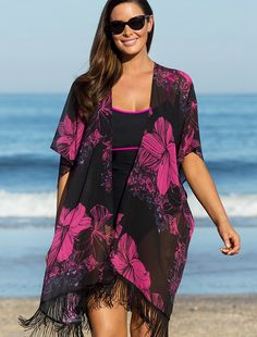 6c757849b8 Summer Women Sexy Swimsuit Cover Up Chiffon Swimwear Bikini Cover Ups  Flower print Shirt tassels Beach