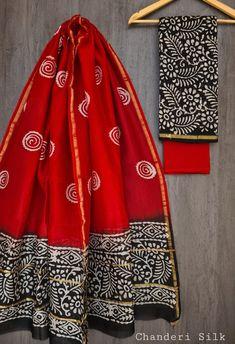 Price Rs 1600 + Shipping extra Hand block Printed chanderi silk dress materials Top and dupattas chanderi silk (2.50×2 mtrs) Bottom cotton (2.50 meters) Chanderi Suits, Chanderi Silk Saree, Churidar Suits, Chiffon Saree, Silk Sarees, Anarkali Suits, Salwar Kameez, Suit Fashion, Fashion Dresses