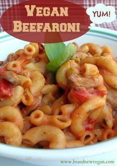 Remember Chef Boyardee? I ate a ton of this as a kid. So what happens if you add Tomato Sauce to Macaroni & Mushrooms in Garlic Sauce? Vegan Beefaroni!