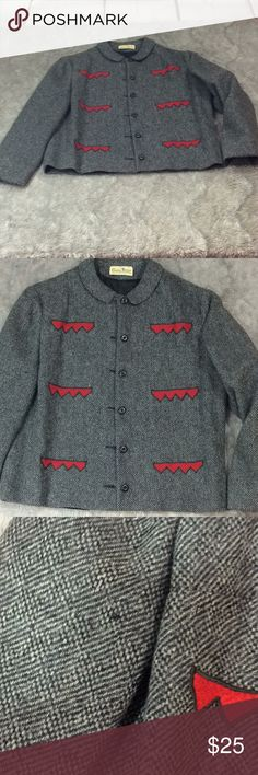 "Vintage 1950's tweed blazer by Susan Thomas (CH) Preowned Vintage 1950's blazer has no sizing tags or what materials it's made of here are measurements armpit to armpit 20"" sleeves 21"" length from shoulder to bottom hem 21"" has a really small hole on right arm as seen on pictures susan thomas Jackets & Coats Blazers"