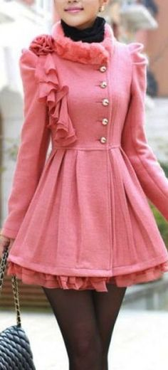 Pink Double-Breasted Princess Wool Coat by simplegirlz on Etsy