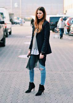 Blazer: Hugo Boss . Sweater: Joop! . Shirt: Muji . Dress: Orwell . Jeans: Cheap Monday . Shoes: Zara