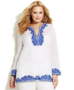 Michael Michael Kors Plus Size Embroidered Tunic