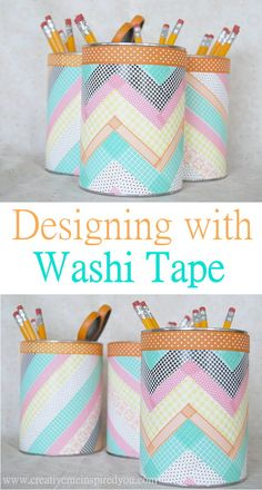 http://creativemeinspiredyou.com/washi-tape-containers/ These containers covered in Washi Tape are to darling, I want some!