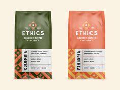 coffee branding Ethics Gourmet Coffee trademark ve - coffee Food Packaging Design, Coffee Packaging, Coffee Branding, Packaging Design Inspiration, Bottle Packaging, Coffee Labels, Packaging Ideas, Design Food, Design Café