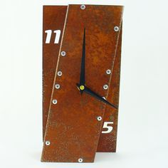Leaning Desk Clock I Rusted by All15Designs on Etsy. $38.00, via Etsy.