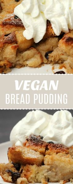 Vegan bread pudding that is golden and crispy on the outside and soft and delicious on the inside Super easy and perfect comfort food Divine served warm with vegan cream. Vegan Treats, Vegan Foods, Vegan Dishes, Tasty Dishes, Vegan Bread Pudding, Pudding Recipes, Bread Puddings, Vegan Dessert Recipes, Delicious Vegan Recipes