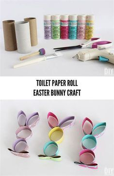 Quick and Easy Easter Craft using toilet paper tubes. - Quick and Easy Easter Craft using toilet paper tubes. Bunny Crafts, Easter Crafts For Kids, Diy Ostern, Toilet Paper Roll Crafts, Easter Traditions, Recycled Crafts, Diy Crafts, Spring Crafts, Easter Bunny