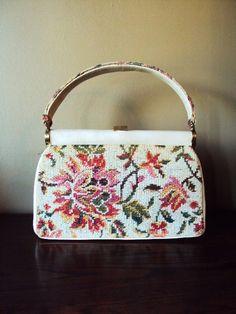 Vintage Purse Needlepoint Carpet Bag JR by primitivepincushion, $24.99