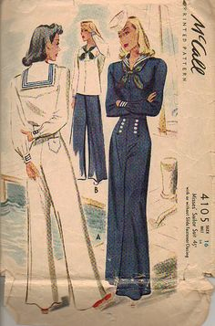 The full nautical suit from the 1940s I think. Notice the setting is the dock and the boat. The only place anyone would have gone so far with a full sailor suit. McCall 4105