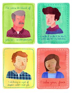 Parks & Rec romantic quotes of Ron, Jean-Ralphio, Andy, & Ann My Funny Valentine, Valentines Pick Up Lines, Bad Valentines, Vintage Valentine Cards, Parks And Recreation, Jean Ralphio, Parks And Recs, When Im Bored, Television Program
