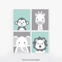 Set of 4 Baby Room Posters. Green Mint and Grey Jungle Animals: Monkey, Giraffe, Lion, Elephant.