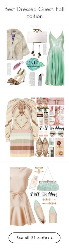"""""""Best Dressed Guest: Fall Edition"""" by polyvore-editorial ❤ liked on Polyvore featuring waystowear, fallwedding, Topshop, A.W.A.K.E., Charlotte Olympia, Honora, NARS Cosmetics, Stiks Cosmetiks, polyvorecontest and polyvoreditorial"""