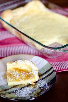 Breakfast Bumpy Cake: in between a crepe and a pancake. Easier to serve than crepes or pancakes because you do not have to stand over the stove/griddle, cooking up a batch for everyone.  Instead, you mix the ingredients and layer into a 9- x 13-inch pan then bake it.