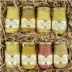 Boxed Gift Set- Fallot Authentic French Dijon Mustard Assortment of 8 Mustards, Each 7 Oz