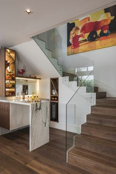 44 stair railings to elevate your home design 27 « Home Decoration Home Stairs Design, Dream Home Design, Home Interior Design, House Front Design, Modern House Design, Kitchen Under Stairs, Bar Under Stairs, Home Bar Rooms, Flur Design