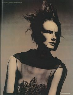 Photography Paolo Roversi, Styling Edward Enninful, Hair Eugene Souleiman, Make-Up Pat McGrath. Linda wears dress by Andrew Groves; rubber gloves Skin Two. [The Supernatural Issue, No. 175, May 1998]