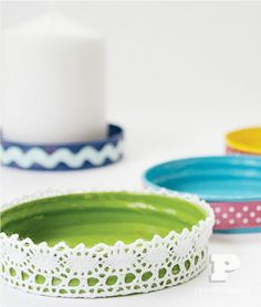 How to make candle plates from old jar lids from  Swedish blog Pysselbolaget - cute idea!   {featured at DIY Saturday at ACultivatedNest.Com}