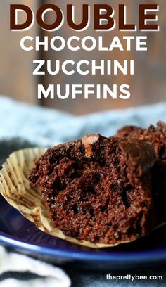 These muffins are so chocolatey and moist! You will love this easy recipe - these chocolate zucchini muffins are just right for breakfast, dessert, or a snack. #vegan #muffins #chocolate #zucchini Vegan Dessert Recipes, Dairy Free Recipes, Easy Desserts, Delicious Desserts, Cake Recipes, Delicious Chocolate, Vegan Chocolate, Chocolate Desserts, Double Chocolate Zucchini Muffins