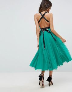 11/13/17  Brand/Designer: Asos Material: Knit /Tulle Occasion: Prom Dress Dress Length: Midi-Dress Neckline: V-Neck Embellishments: Ribbon Hand Wash