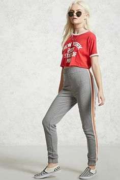 Forever 21 Contrast Striped Sweatpants