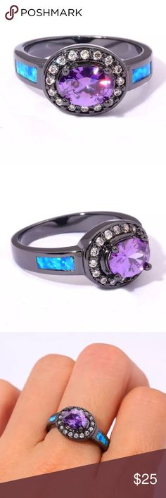 BNIB Stainless Steel & Blk Gold Amethyst,Opal, AAA Another great day and night ring with the beauty that will start up a conversation, I will be making a guide for all birthday months and what healing properties each stone has as it has always sparked my interest as I hope it does yours as well!! Amazing and handmade all the best used in this ring.. please ask if u have any questions Handmade Jewelry Rings