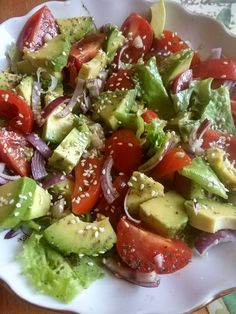 Avocado salad - a step by step recipe with a photo. The author of the recipe Iri . Gourmet Recipes, New Recipes, Salad Recipes, Vegetarian Recipes, Cooking Recipes, Healthy Recipes, Healthy Meal Prep, Healthy Eating, Veg Dishes