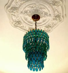 teal glass chandelier