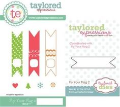 TAYLORED-EXPRESSIONS-FLY-YOUR-FLAGS-2-STAMPS-WITH-COORDINATING-DIE-TEPS42-NIP