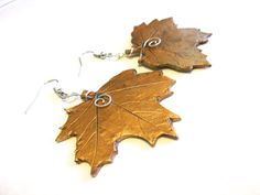 Maple Leaves- Handmade polymer clay leaf earrings with real leaf detail and metallic finish