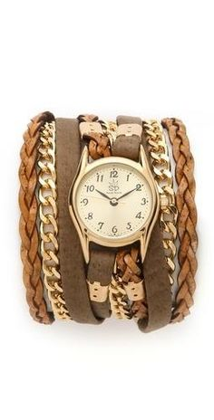 Leather and suede watch