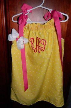 Pillowcase yellow polka dot monogrammed dress