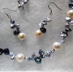 Splash - 925 blue and peacock Keishi Pearls with white Cultured Freshwater Pearls - sterling silver necklace & earrings set - handmade Wave Jewelry, Pearl Jewelry, Gemstone Jewelry, Pearl Earrings, Sterling Silver Necklaces, Earring Set, Peacock, Waves, Gemstones