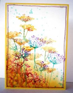 handmade card ... watercolor stamping techniques ... luv the color combos ... she used shimmer spray instead of pure water ... meadow flowers ... gorgeous!!