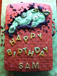 Hulk cake for a 40th birthday party. Red velvet with cream cheese frosting, red velvet ganache, and vanilla fondant.
