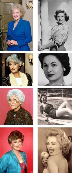 I love the Golden Girls! The Golden Girls and their younger selves The Golden Girls, Golden Girls Quotes, Divas, La Girl, Betty White, Actrices Hollywood, Karen, Famous Faces, Belle Photo