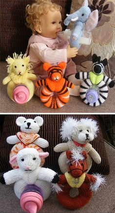 Knitting Pattern for Baby Bottle Buddies - These bottle buddiesare especially designed to hold a baby's bottle solittle ones can grasp the bottle and feed themselves. The Safari Set includesLion, Tiger, Zebra and Elephant instructions. The Animal Friends Set includes Lamb, Teddy, Dog, and Horse instructions.