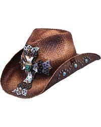 Woven Straw hat Elegant and Romantic Fashion Women Straw Western Cowboy Hat with Colored Bead Chain Handmade Weave Lady Dad Sombrero Hombre Cowgirl Jazz Classic Cowboy hat