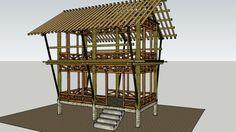 Grand aperçu du modèle 3D de Rumah Bambu 3x6 M2 Dua Lantai