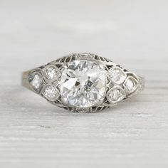 1.18 Carat Vintage Engagement Ring by ErstwhileJewelry on Etsy